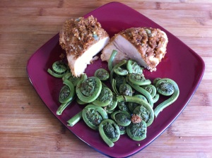 My Yummy meal for day one! I LOVE fiddleheads!